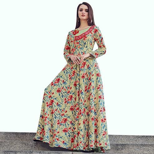 Refreshing Pastel Green Colored Partywear Printed Rayon Gown