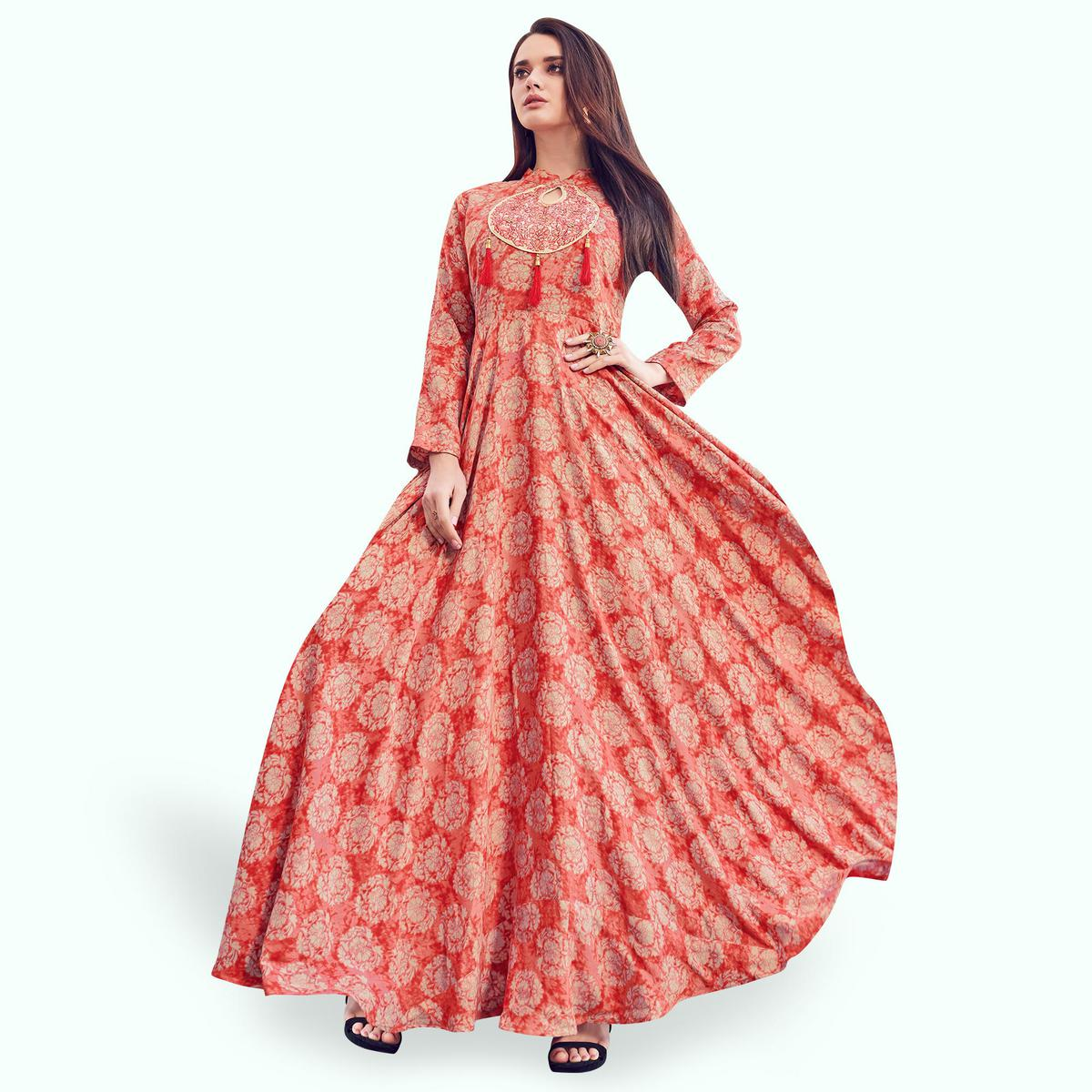Hypnotic Red Colored Partywear Printed Rayon Gown