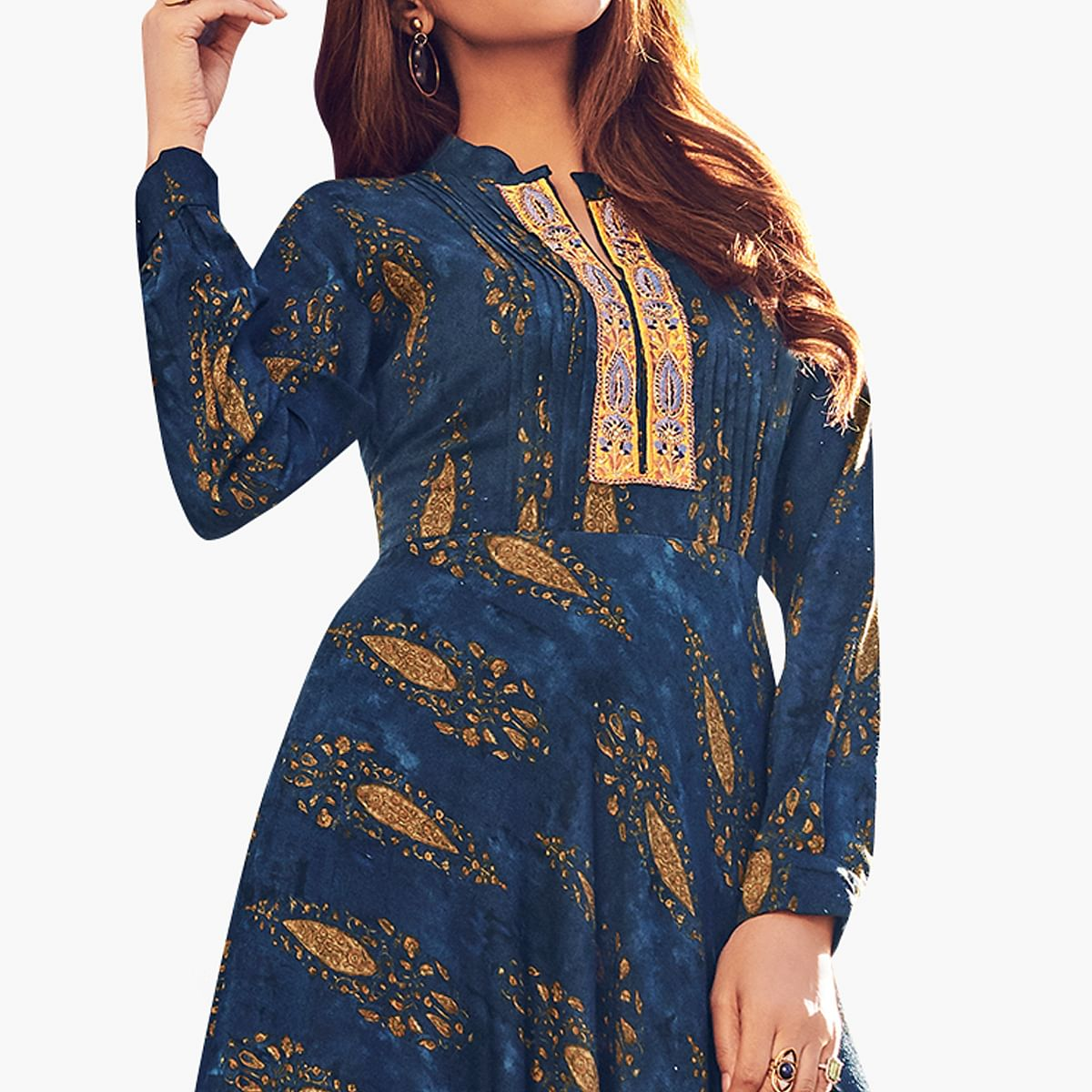 Flattering Navy Blue Colored Partywear Printed Rayon Gown