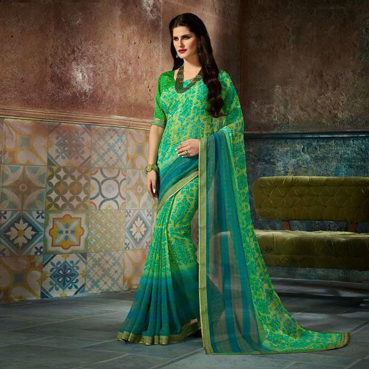 Graceful Green Printed Casual Wear Marble Georgette Saree