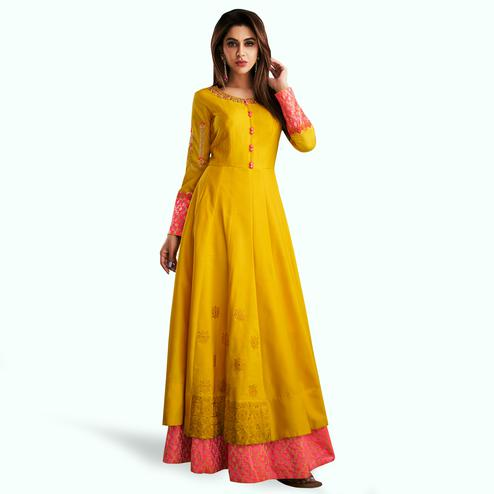 Engrossing Yellow Colored Partywear Embroidered Cotton Gown