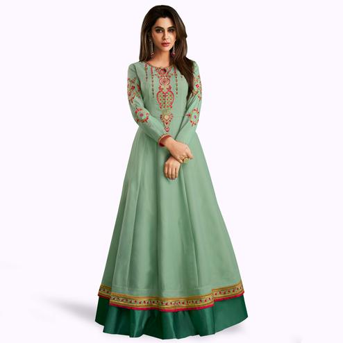 Captivating Pastel Aqua Green Colored Partywear Embroidered Cotton-Raw Silk Gown
