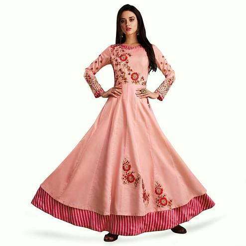 Innovative Pink Colored Partywear Embroidered Cotton Gown