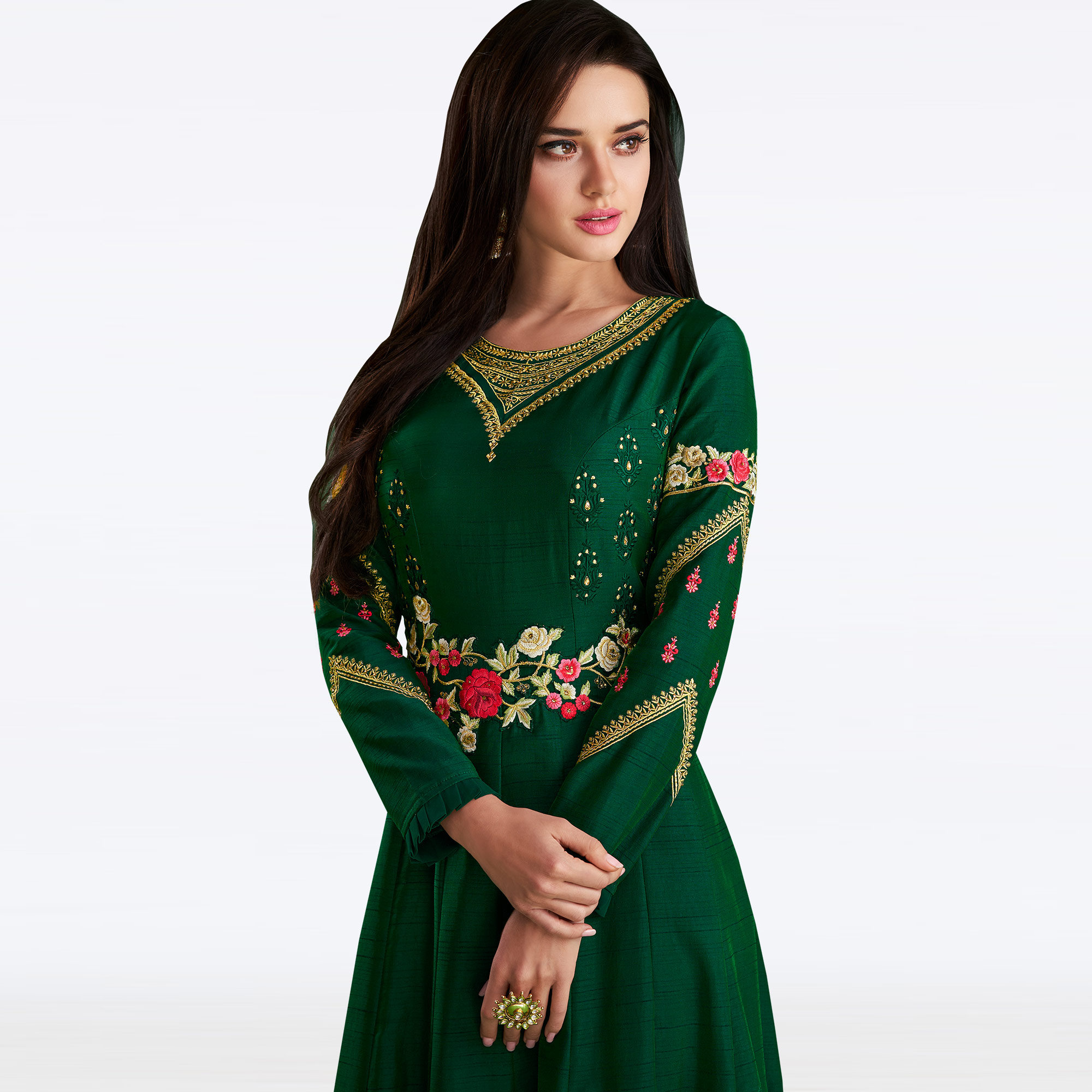 Eye-catching Dark Green Colored Partywear Embroidered Linen-Satin Gown