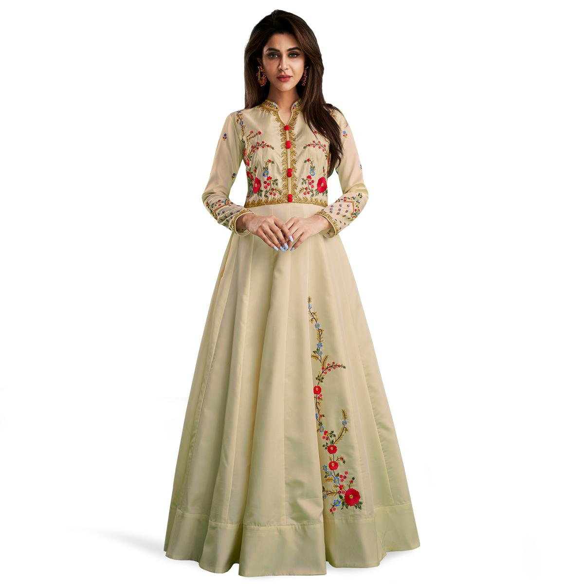 Fantastic Off-White Colored Partywear Embroidered Cotton Gown