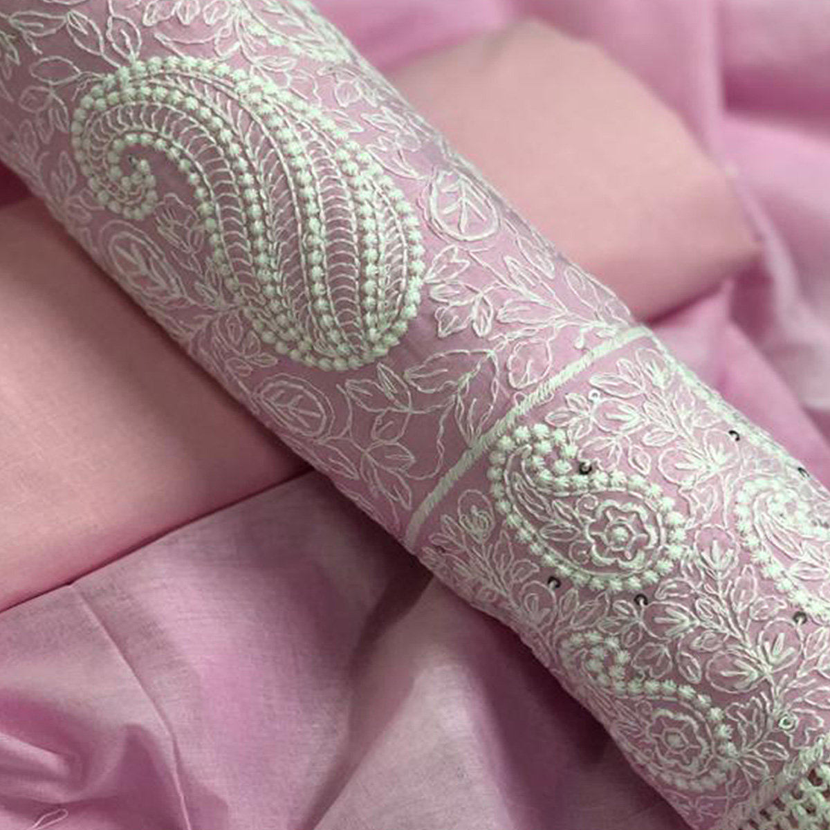 Beautiful Pink Colored Embroidered Partywear Cotton Dress Material