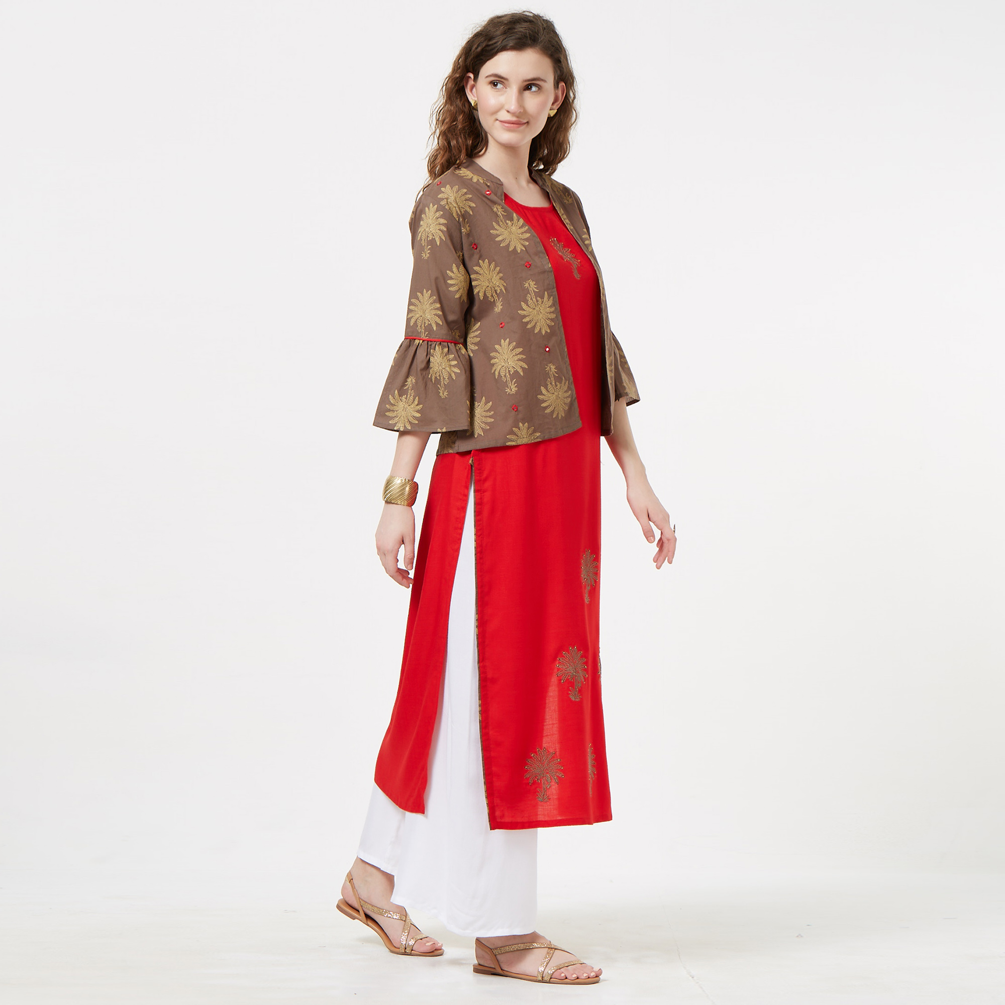 Blooming Red-Brown Colored Partywear Embroidered Koti Style Rayon Kurti
