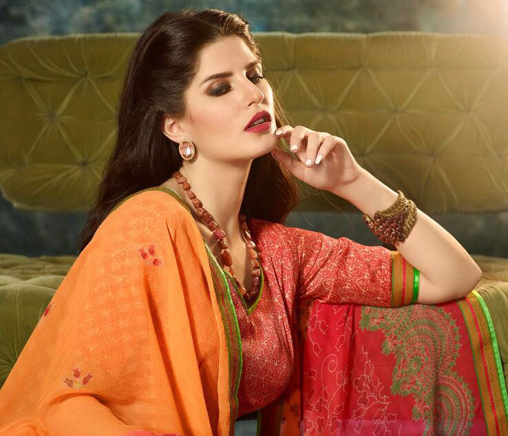 Lovely Orange Printed Casual Wear Marble Georgette Saree