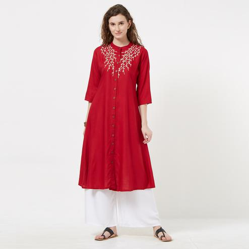 Admiring Red Colored Partywear Embroidered Rayon Long Kurti