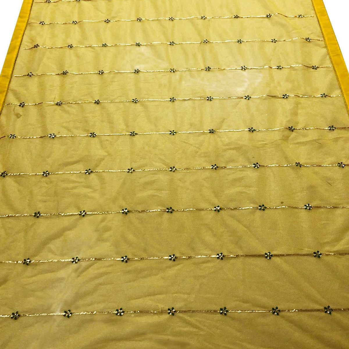 Impressive Yellow Colored Partywear Embroidered Organza Saree