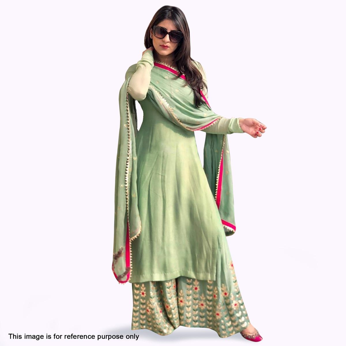 Sophisticated Pastel Green Colored Partywear Embroidered Georgette Palazzo Suit
