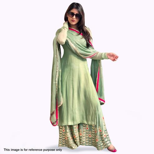 d8d1b3263 Sophisticated Pastel Green Colored Partywear Embroidered Georgette Palazzo  Suit