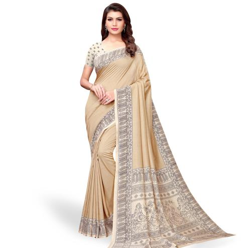 Exotic Beige Colored Casual Printed Art Silk Saree