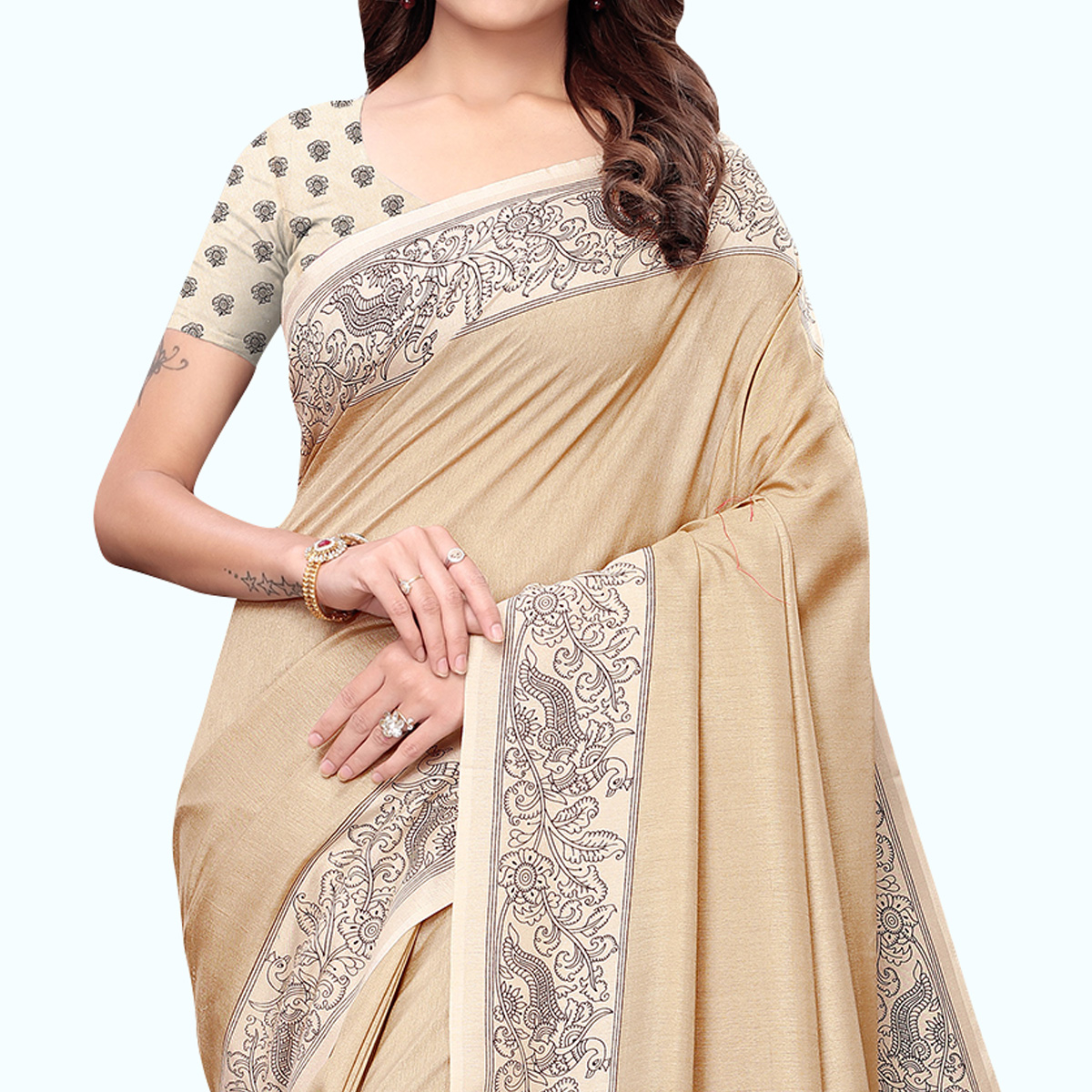 Sophisticated Beige Colored Casual Printed Art Silk Saree