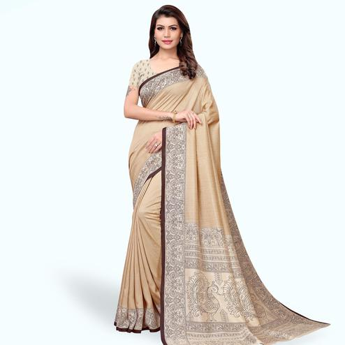 Trendy Beige Colored Casual Printed Art Silk Saree