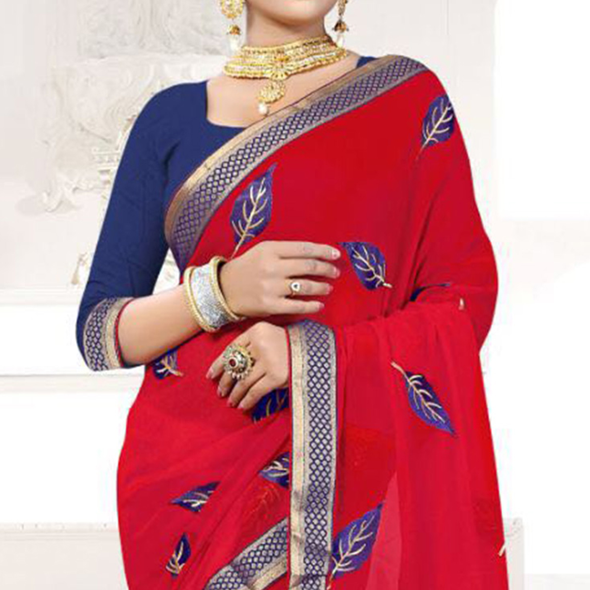 Red Embroidered Partywear Georgette Saree