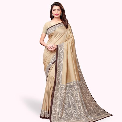 Pleasant Beige Colored Casual Printed Art Silk Saree