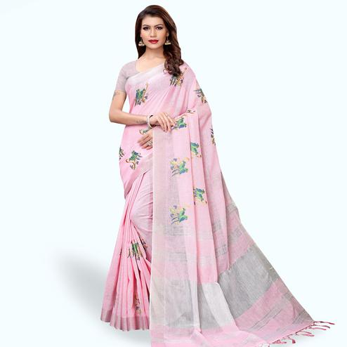 Opulent Pink Colored Partywear Embroidered Linen Saree
