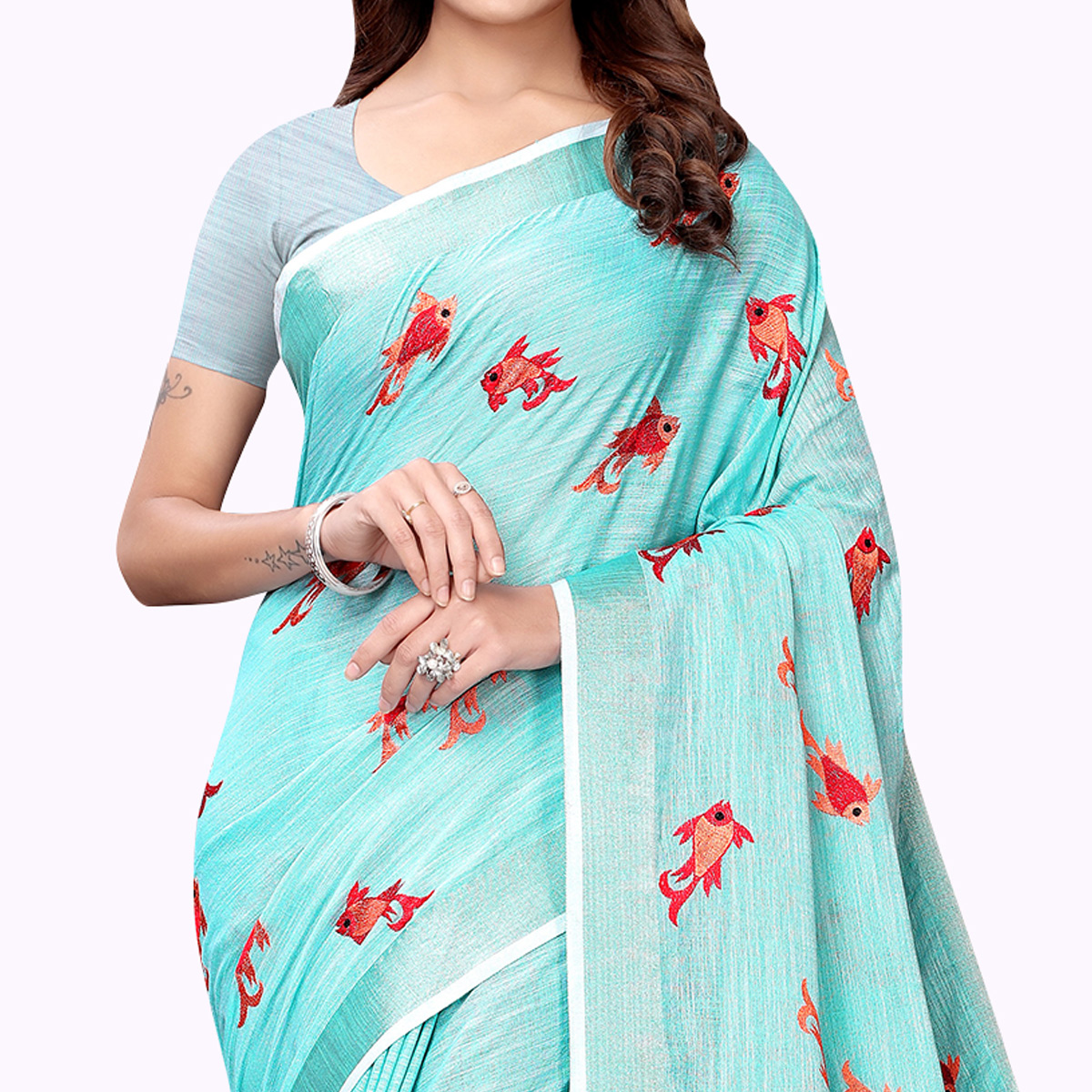 Energetic Aqua Blue Colored Partywear Embroidered Linen Saree