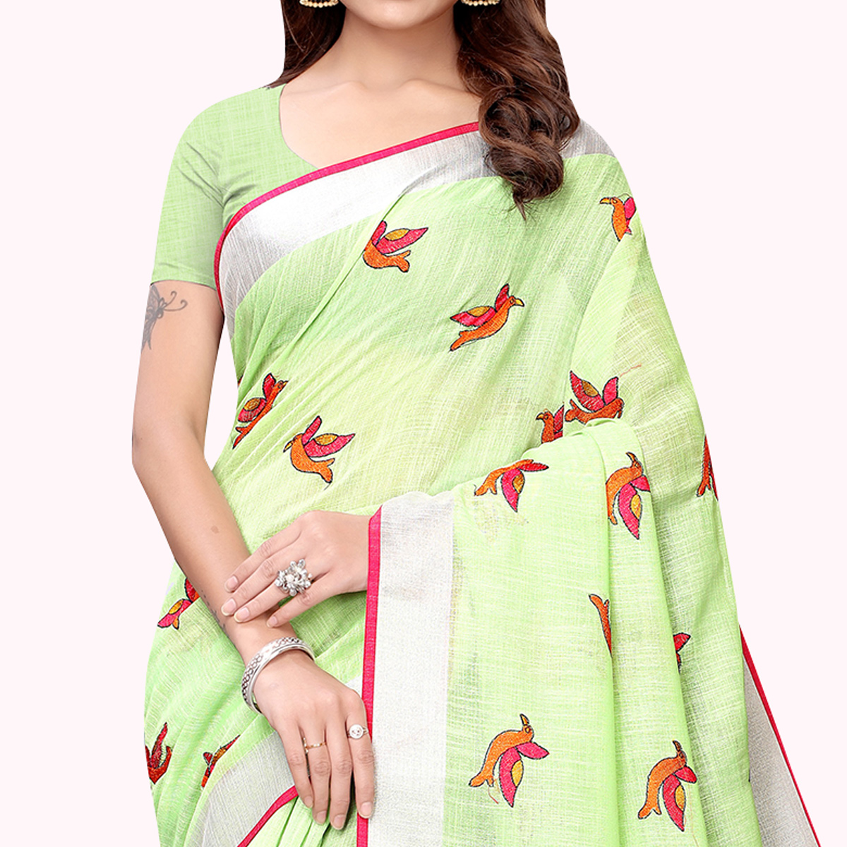 Glowing Light Mint Green Colored Partywear Embroidered Linen Saree