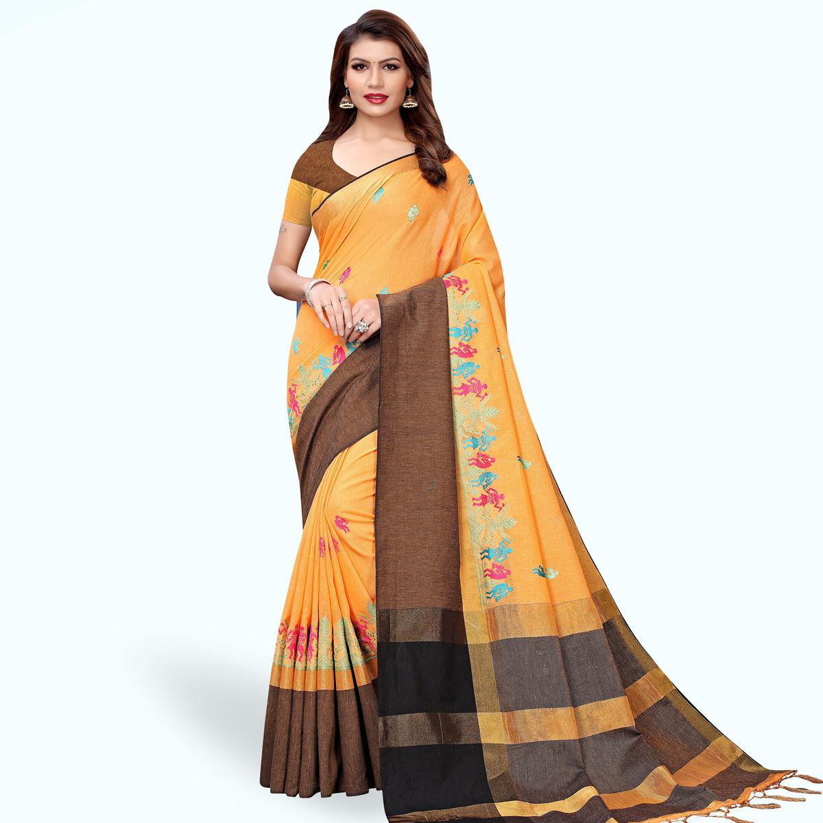 Gleaming Light Orange Colored Partywear Embroidered Linen Saree
