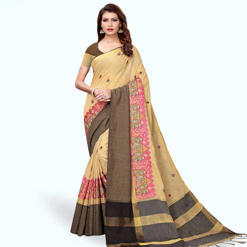 Unique Beige Colored Partywear Embroidered Linen Saree