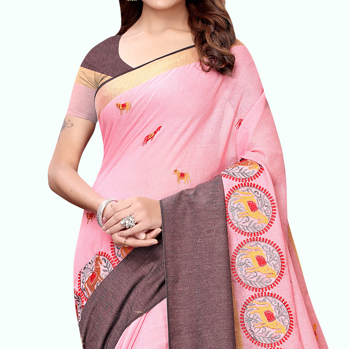 Demanding Pink Colored Partywear Embroidered Linen Saree
