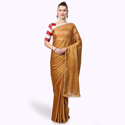 Refreshing Rust Orange Colored Casual Wear Georgette Saree