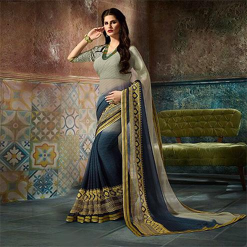 Charming Gray Printed Casual Wear Marble Georgette Saree