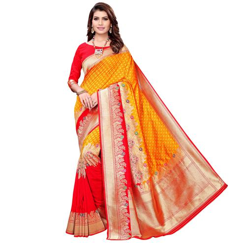 Entrancing Mustard Yellow-Red Colored Festive Wear Woven Silk Saree