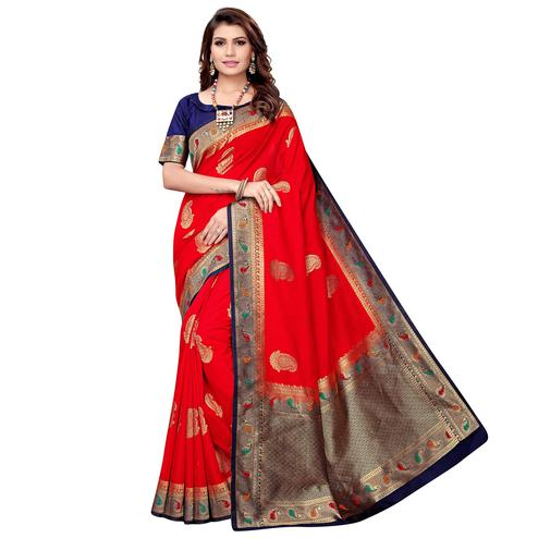 Groovy Red Colored Festive Wear Woven Silk Saree