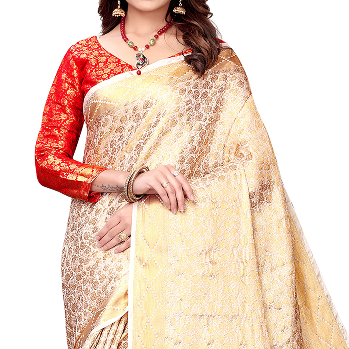 Adorable Cream Colored Festive Wear Woven Silk Saree