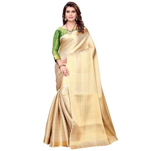 Glorious Cream Colored Festive Wear Woven Silk Saree