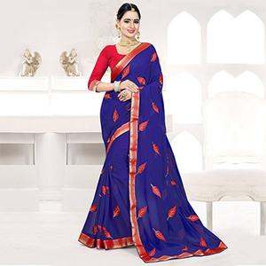 Navy Embroidered Partywear Georgette Saree