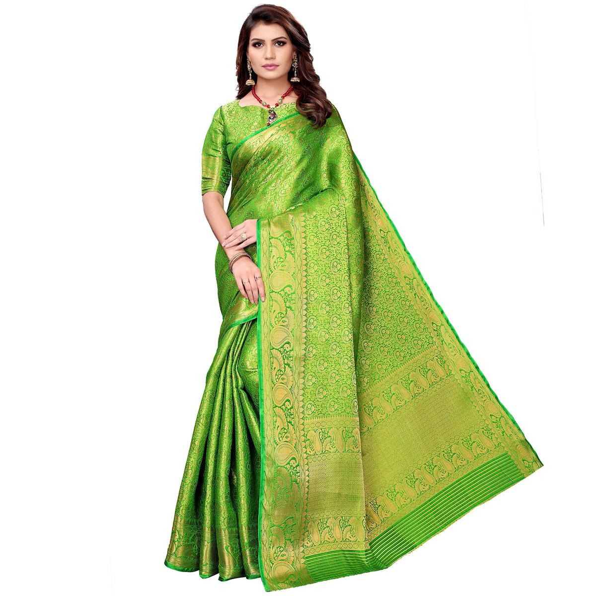 Delightful Green Colored Festive Wear Woven Silk Saree
