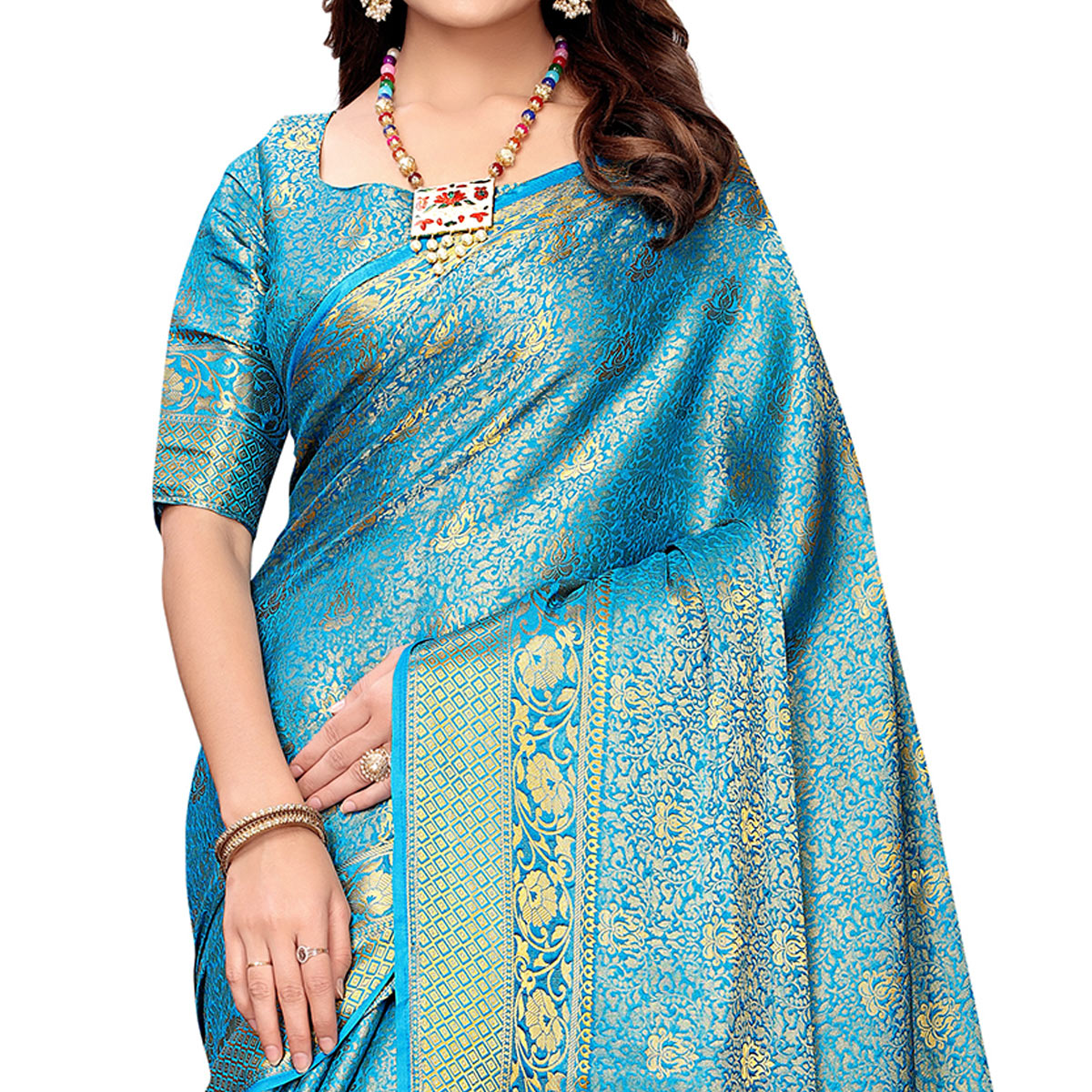 Engrossing Deep Sky Blue Colored Festive Wear Woven Silk Saree