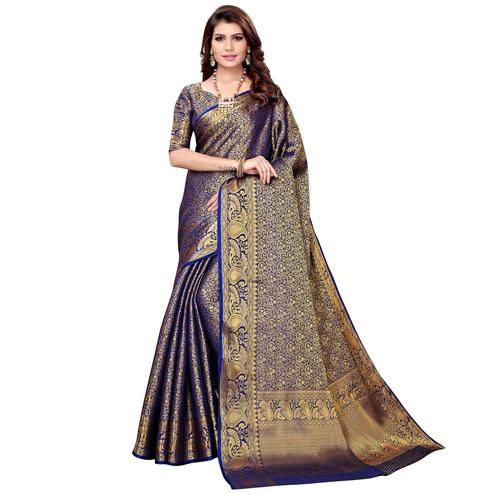 Captivating Navy Blue Colored Festive Wear Woven Silk Saree