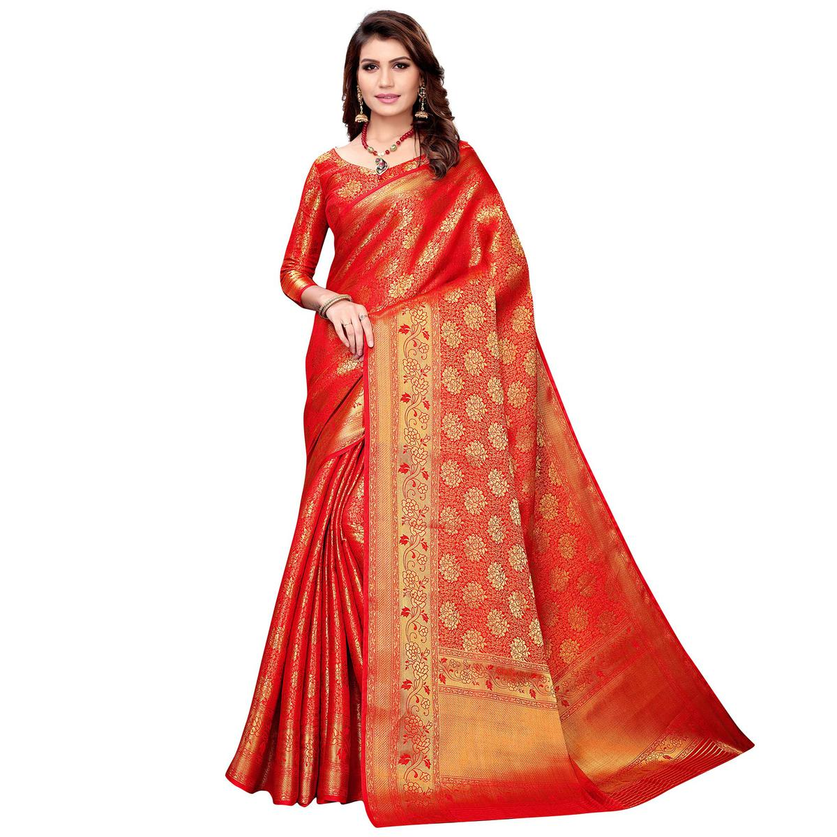 Innovative Red Colored Festive Wear Woven Silk Saree