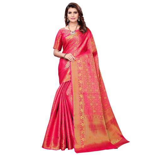 Eye-catching Hot Pink Colored Festive Wear Woven Silk Saree