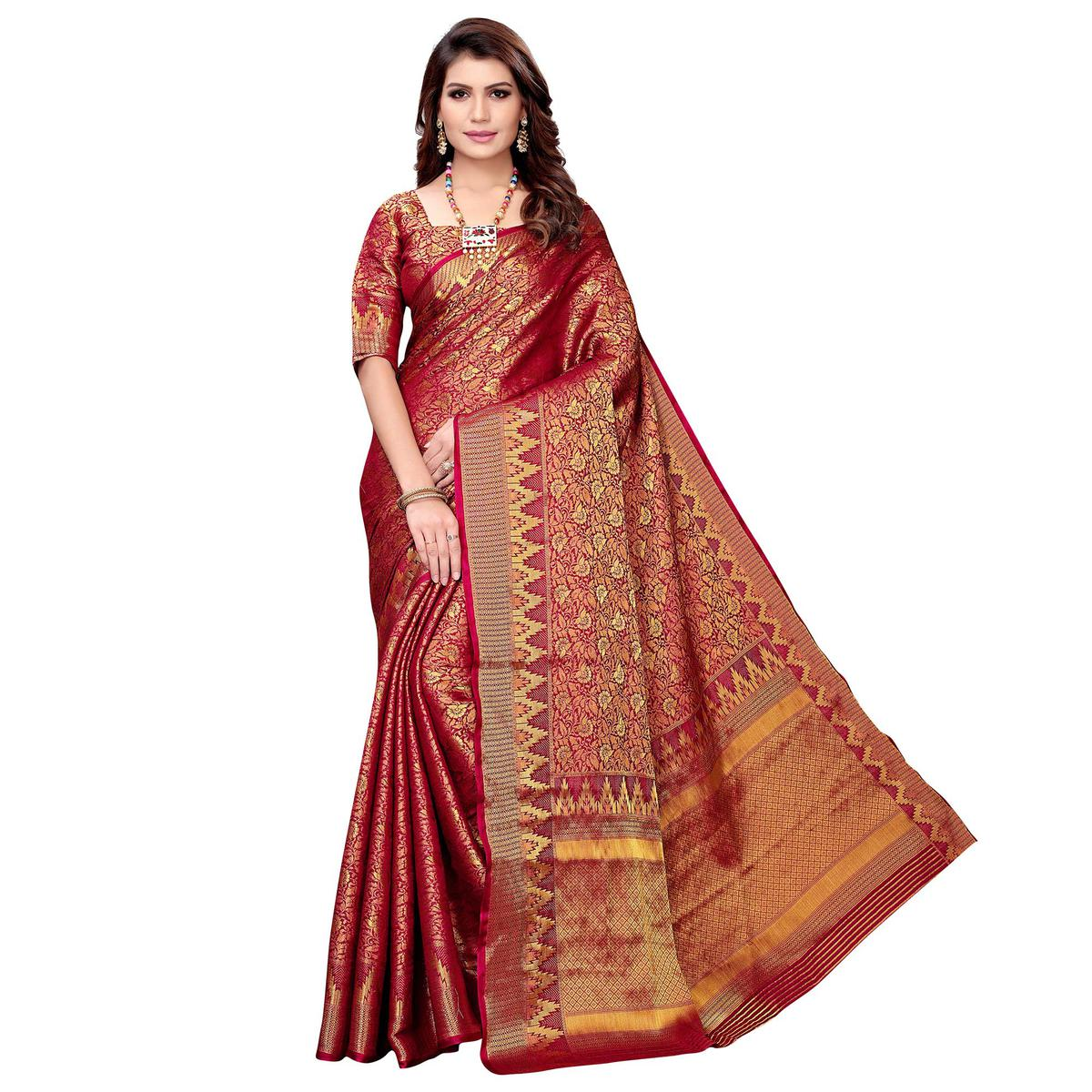 Fantastic Maroon Colored Festive Wear Woven Silk Saree