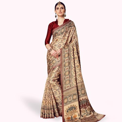 Opulent Beige Colored Casual Printed Manipuri Silk Saree