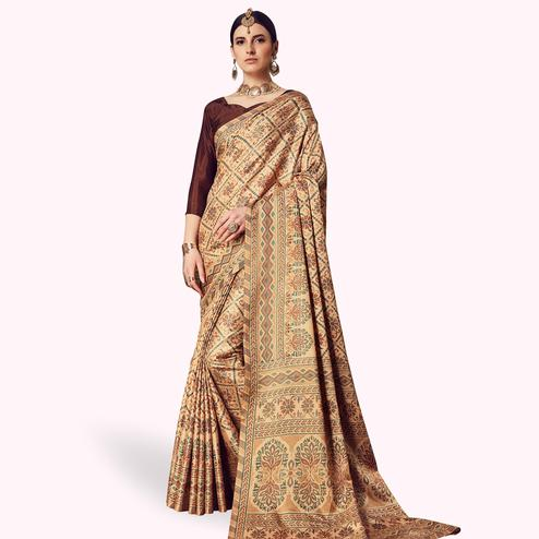 Energetic Beige Colored Casual Printed Manipuri Silk Saree