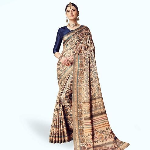 Glowing Beige Colored Casual Printed Manipuri Silk Saree