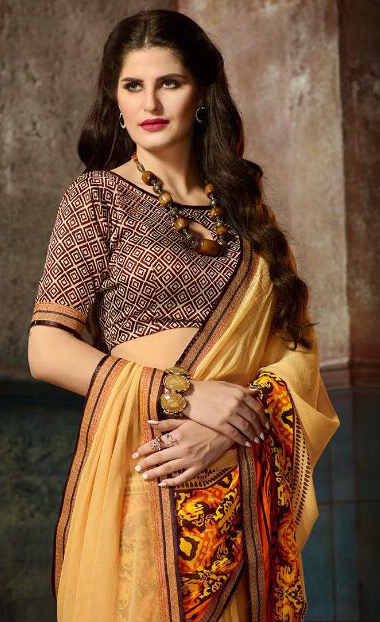 Delightful Yellow Printed Casual Wear Marble Georgette Saree