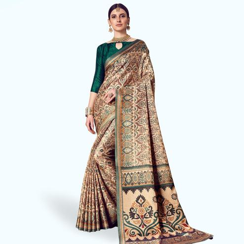 Exceptional Beige Colored Casual Printed Manipuri Silk Saree