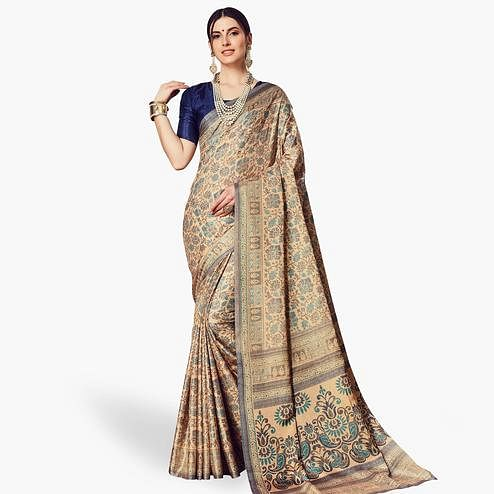 Mesmeric Beige Colored Casual Printed Manipuri Silk Saree