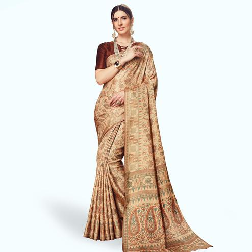 Unique Beige Colored Casual Printed Manipuri Silk Saree