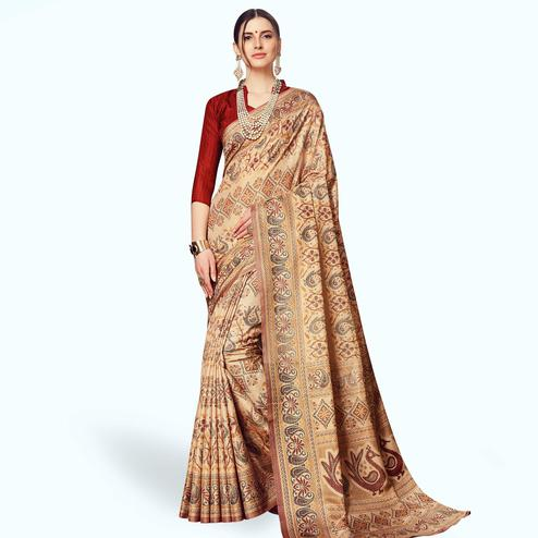 Demanding Beige Colored Casual Printed Manipuri Silk Saree