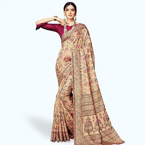 Refreshing Beige Colored Casual Printed Manipuri Silk Saree