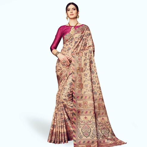 Magnetic Beige Colored Casual Printed Manipuri Silk Saree